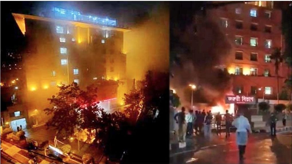 """ไฟไหม้ """"เต็นท์กักตัว""""ในโรงพยาบาลบังกลาฯ สลดผู้ป่วย""""โควิด""""สังเวยแล้ว 5 ศพ"""