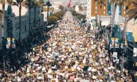 คลิปผู้ชุมนุมบนถนน Hollywood Blvd (Walk of Fame) เมื่อวานนี้ 7 มิ.ย.