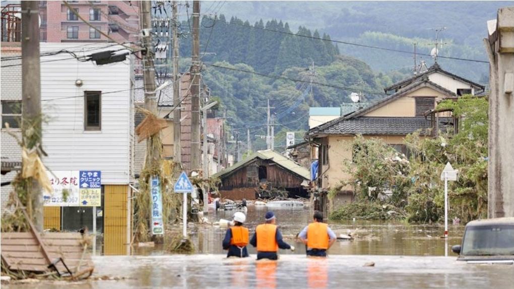 เหยื่อน้ำท่วมญี่ปุ่นพุ่ง 34 ราย อพยพกว่า 2 แสน-ยกระดับป้องกันโควิดในศูนย์พักพิง