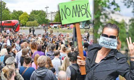 """ม็อบโผล่ต้านรบ.อังกฤษ บังคับใส่ """"หน้ากาก"""" อ้างเสรีภาพ-สิทธิมนุษยชน"""