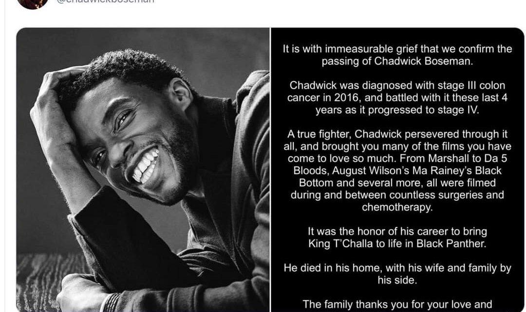 ช็อกฮอลลีวูด! แชดวิก โบสแมน พระเอก 'Black Panther' เสียชีวิตแล้วในวัย 43 ปี