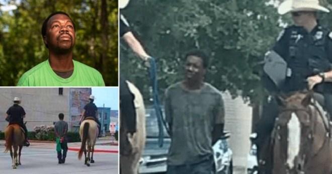 ชายผิวดำที่ถูกนำตัวไปยังเมืองกัลเวสตันรัฐเท็กซัสโดยเจ้าหน้าที่ตำรวจบนหลังม้าฟ้องเมืองนี้ในราคา 1 ล้านดอลลาร์