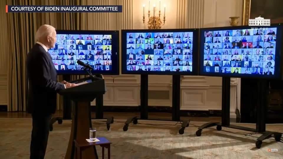 ประธานาธิบดีได้กล่าวกับเจ้าหน้าที่ ผ่านระบบ Video Conference