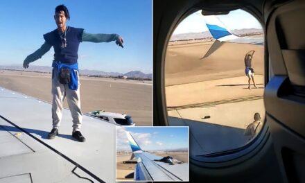 ชายผู้หนี่งเดินบนปีกเครื่องบินอลาสก้าแอร์ไลน์ ที่สนามบินลาสเวกัส ก่อนเครื่องออก